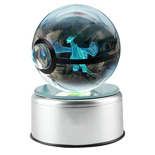 KEYUAN 3D Crystal Ball LED Night Lights Spinning Base 7 Kinds of Discoloration Pokemon Laser Engraving Poke Ball Christmas/Birthday Kids Gift,Lugia,3.14