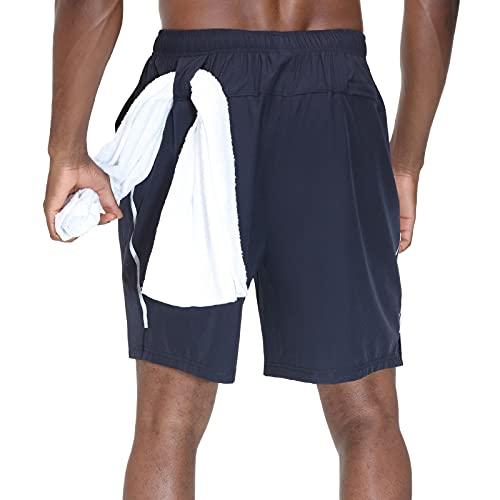HMIYA Herren Sporthose Kurz Schnell Trocknender Sport Shorts Atmungsaktiver Jogginghose Fitness Training mit Taschen Reißverschluss(Marine,EU-L/US-M)