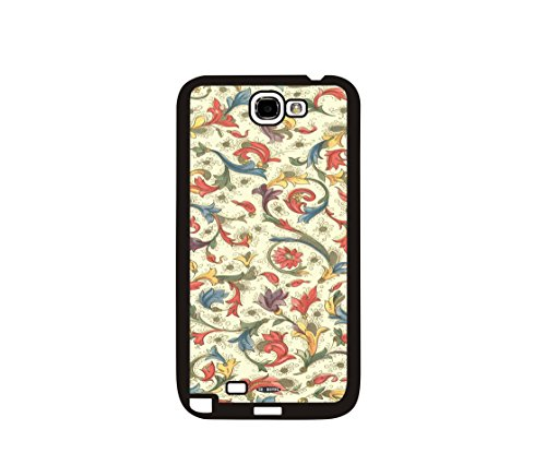 DH-hoping (TM) Cell phone Case for Samsung GALAXY Note 2 N7100 Impackt Combo Soft Silicon Rubber Hybrid Hard Pc & Metal Aluminum Protective Case with Customizatied Brightly colored flowers Luxurious Pattern (flowers-02)