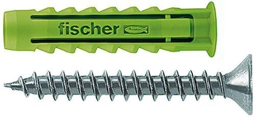 fischer SX GREEN 6 x 30 S - Dübel aus mind. 50% nachwachsenden Rohstoffen, 4-fach spreizend, mit Schraube - zum Befestigen von Leuchten, Garderoben in Voll- und Lochbaustoffen - 45 Stück