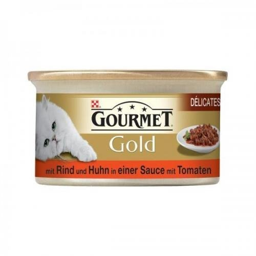 12 x Gourmet Dose Gold Delicatess Rind, Huhn & Tomatensoße 85g, Nassfutter, Katzenfutter