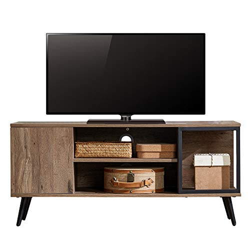 Mid Century Modern TV Stand with Storage , 50 Inches Wood Entertainment Center Media Console Table with Cabinet Door for Living Room Bedroom, LS212M2-A