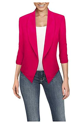 Soluo Womens Office High Low Blazer Jacket Open Front Cardigan Work Office Coats Business Casual Cropped Outwear Red Size: XXL
