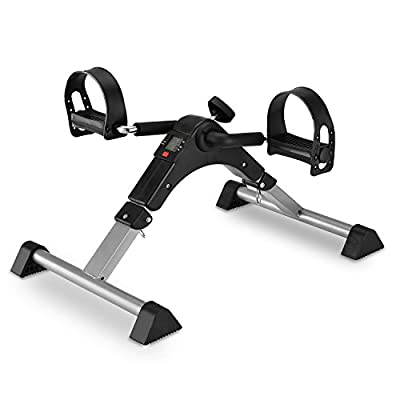 Stationary Cycle Pedal Exerciser Desk Exercise Bike with LCD Monitor Foldable (black/grey)