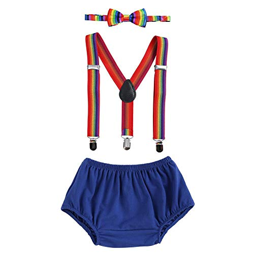 Baby Boys First Birthday Cake Smash Outfit Bloomers Bow Tie Suspenders Set Fishing Party Nappy Diaper Cover 3pcs Clothes Set Photography Prop Costume for Newborn Infant Toddler Royal Blue