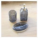 OMYLFQ Dispensadores de loción Dispensador de jabón de baño de Vidrio a Rayas Conjunto de 3 Piezas Home Hotel Moderno Baño Dispensador de jabón, Cocina Home Hotel Accesorios de baño jabón (Color : B)