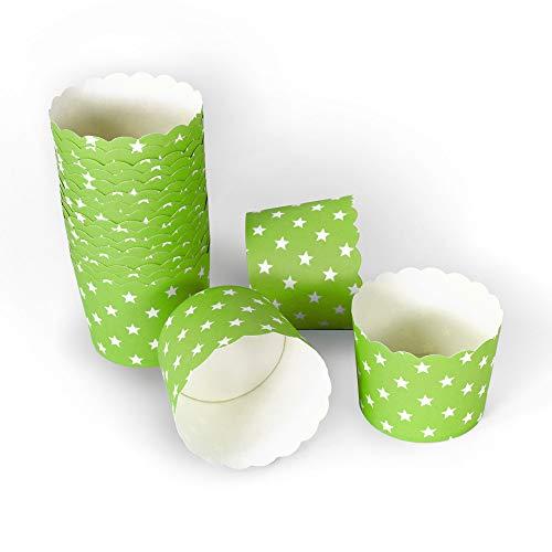 Frau WUNDERVoll® 100 Muffin BACKFORMEN GRÜN, Weisse Sterne, Durchmesser 6,1 cm/Muffinbackform, Muffinform, Backformen, Backförmchen, Cupcake Formen, Muffin Förmchen Papier