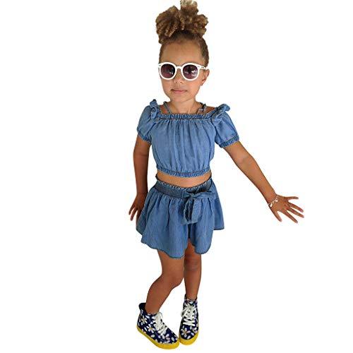 Mädchen Kleider Festlich, Weant Baby Kleidung Mädchen Outfits Schulterfrei Tops + Lose Shorts FüR Kinder Mädchen Kleidung Partykleid Chiffon Kleid Baby Tägliche Kleidung Pullover