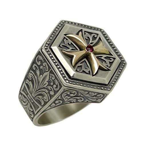 Ritter Tempelritter Sterling-Silber 925 und Gold 10 K Kreuz handgraviert Fleur de Lis Ring Mittelalter Kreuzritter Freimaurer - 65 (20.7)