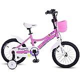 QULONG Bicicletta per Bambini 12'e 18' Antiurto Bicicletta per Bambini Antiurto , per 2-9 Anni Ragazzi e Ragazze Bicicletta Regolabile con Ruote di Allenamento Freno a contropedale Biciclette per ba