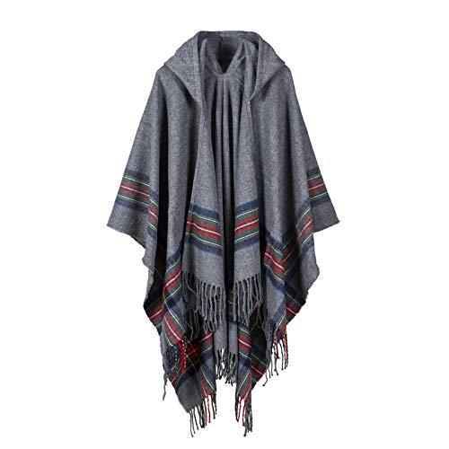 Schal Damen Herbst/Winter Warme Mode Umhang Poncho 130 * 150Cm Tippet Schal Foulard Grau