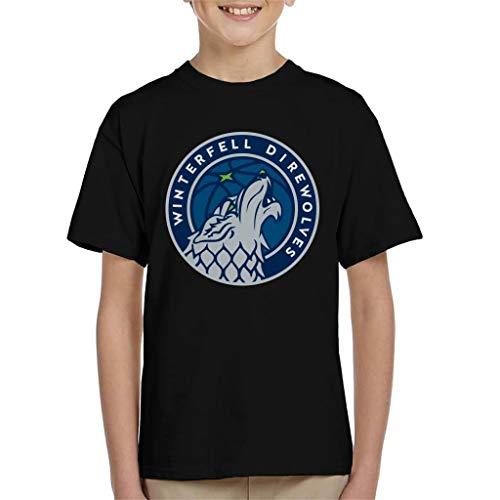 Winterfell Direwolves Timberwolves Inspired Game of Thrones Kid's - Camiseta Negro 9-11 Años
