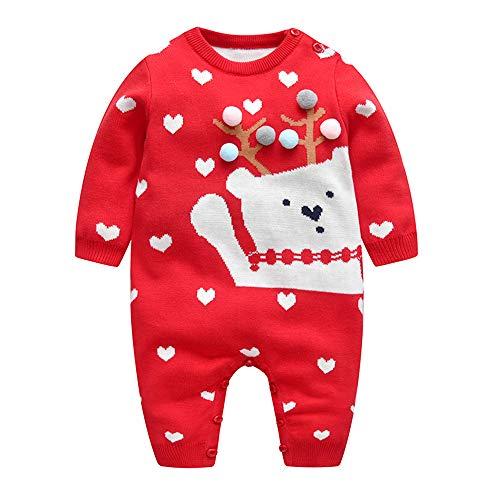 Bambino Pagliaccetto Maglione Natalizia Tuta Invernale Abiti a Maniche Caldo Lunghe Lavorati a Maglia Abiti per Neonato 12-18 Mesi Simpatico Orso Rosso