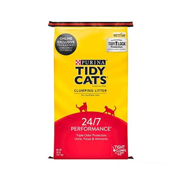 Purina Tidy Cats Clumping Cat Litter, 24/7 Performance Multi Cat Litter – 40 lb. Bag