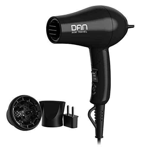 DAN Technology D29 Compact Hair Dryer with Diffuser, Concentrator, Storage Bag, EU Plug Adapter and Folding Handle, 1200W Dual Voltage Hair Dryer, 125V-250V, ETL Certified