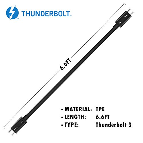 [Intel Thunderbolt 3 Certified 40Gbps Thunderbolt 3 Cable,100W Charging 6.6 Feet for MacBook Pro and Others (Not Compatible to None TB3 Laptop to None TB3 Display ex: iPad Pro to a USB-C Display