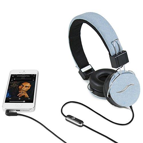 hi-Fun Hi-Deejay hoofdtelefoon met microfoon met stoffen bekleding, Jeans Chiaro