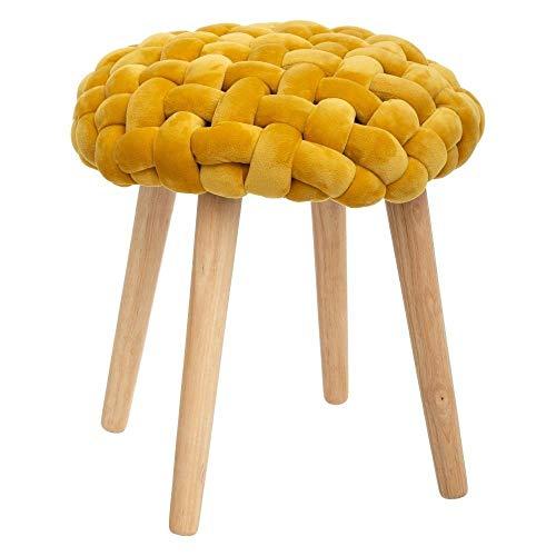 Atmosphera – Taburete de madera y asiento de tejido, 43 cm de altura, color mostaza