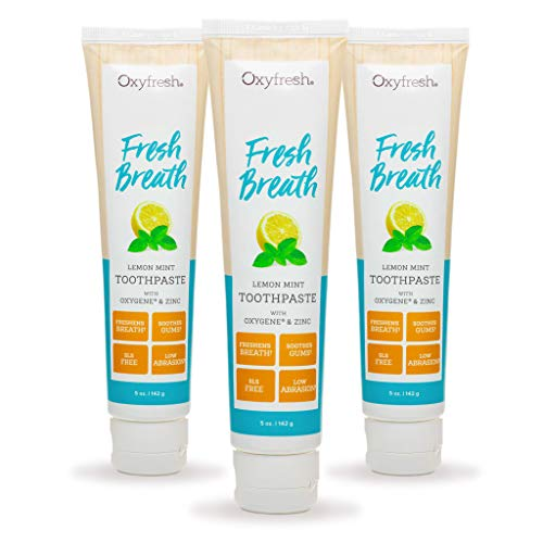Oxyfresh Maximum Fresh Breath Lemon Mint Toothpaste |SLS & Fluoride Free w/Natural Essential Oils & Xylitol – Aids Dry Mouth (3-5 oz Tubes)