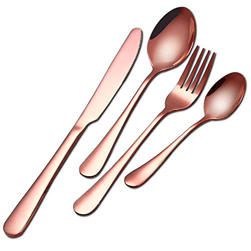 FZFHD Stainless Cutlery Set 16 Piece Service for 4 Rose Gold, Stainless Steel Plated Cutlery Set, Dinnerware Tableware Silverware Dishwasher Safe Dinner