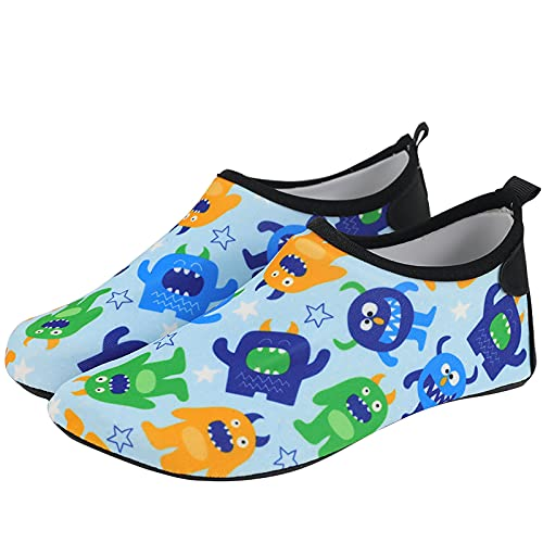 CHUIKUAJ Zapatos de Agua para Niñas y Niños, Antideslizantes, de Secado Rápido, Descalzos, Calcetines Acuáticos para Niños Pequeños, Playa, Piscina, Surf,D-32-33EU