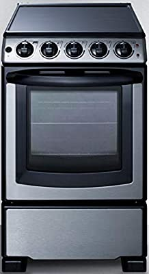"""Summit Appliance REX2071SSRT 20"""" Wide Slide-In Look Smooth-Top Electric Range in Stainless Steel with Oven Window, Adjustable Racks, Hot Surface Indicator, Indicator Lights, Upfront Controls"""