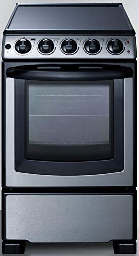 Summit Appliance REX2071SSRT 20 Wide Slide-In Look Smooth-Top Electric Range in Stainless Steel with Oven Window, Adjustable Racks, Hot Surface Indicator, Indicator Lights, Upfront Controls