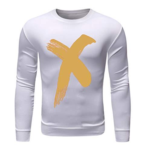 ZZBO Herren Classic Sweatshirt Pullover Rundhals Langarm Slim Beiläufige Hemd Warm X Print Training Blouse Tops Fashion Pulli Sweat für Herbst und Winter Casual Einfacher Stil S-XL