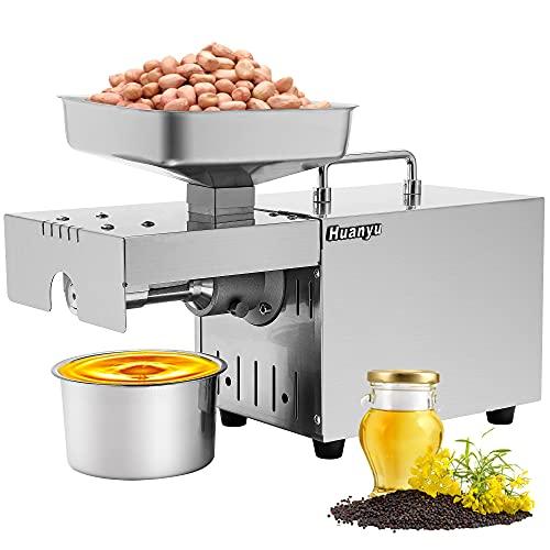 Huanyu 1500 W - Exprimidor de Aceite Esencial ≥ 90% de Alto Rendimiento de Aceite, Extractor de Aceite Caliente y frío, máquina de prensado con 45 ° -130 ° termostato automático Constante