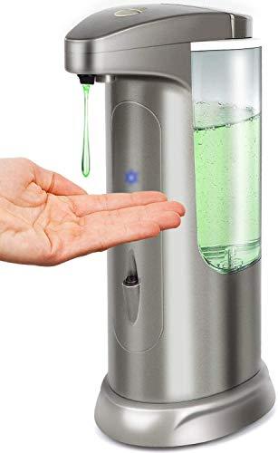Hanamichi - Dispensador de jabón automático con sensor de movimiento por infrarrojos, base impermeable, interruptor ajustable, adecuado para cuarto de baño, cocina, hotel, restaurante