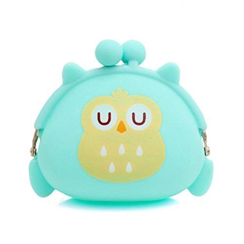 Malloom Women Girls Owl Silicone Jelly Wallet Coin Change Purse Key Pouch (Gr...