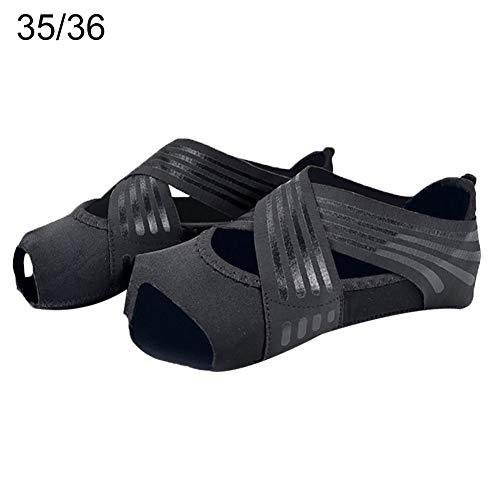 JujubeZAO Yoga-Schuhe, professionelle Frauen, flache weiche rutschfeste Sohle, Ballett, Tanzen, Pilates, Yoga-Schuhe, Schwarz , 39/40
