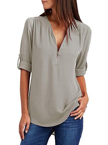 Damen Chiffon Blusen Elegante Reißverschluss Langarmshirts Bluse Tunika Oberteile T-Shirt V-Ausschnitt Tops Grau 3XL