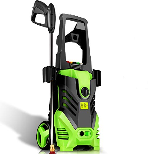 Homdox 2850PSI 1.7GPM Max Electric Pressure Washer Machine 1800W with Power Hose Gun Turbo Wand, 5 Quick-Connect Spray Tips and Rolling Wheels (Green)