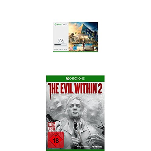 Xbox One S 500GB Konsole - Assassins's Creed Origins Bundle + The Evil Within 2