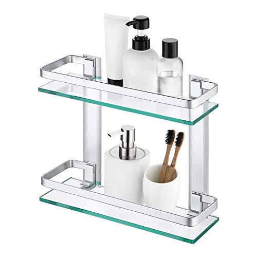 Amazon Brand - Umi Estanteria Baño Estanteria Ducha Estante 8mm Vidrio Templado Organizador Estantería para Baño Pared Aluminio 2 Estantes Plata, A4126B