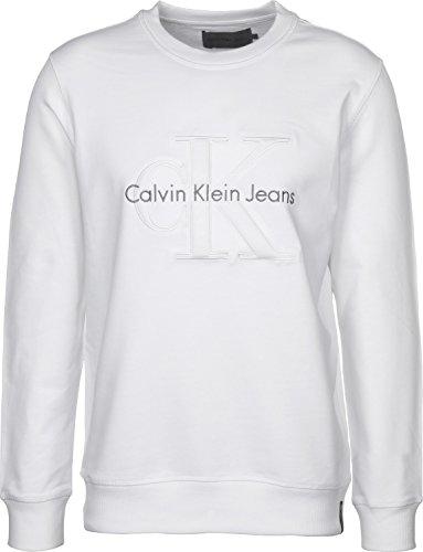 Calvin Klein Hasto 3 Slim CN Hknit LS Felpa, Bianco (Bright White 112), X-Large Uomo