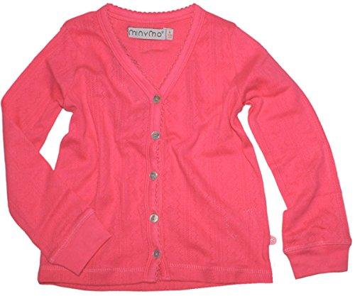 MINYMO Leichte Strickjacke in Pink mit verziertem V-Neck aus leichter Baumwolle 140508 Size 152