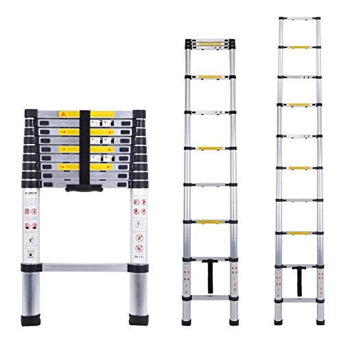 Escalera telescópica multiusos de aluminio portátil Escalera plegable y extensible EN131 y normas CE(2.9M)