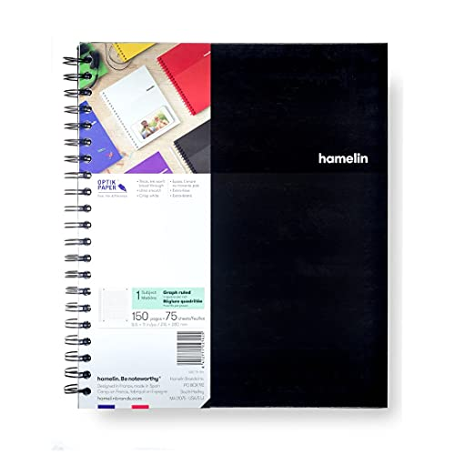 Hamelin 1 Subject, Graph Paper, Hard Cover Spiral Bound Grid Notebook, 4 Square Per Inch 150 Pages MIDNIGHT Black 8.5 x11