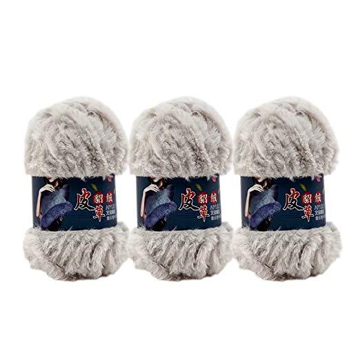 3 Skeins Faux Fur Eyelash Yarn Mink Cashmere Wool Long Plush Fancy Thick Yarn for DIY Fur Coat Doll Craft 300g (Water Grey)