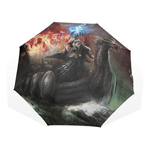 LASINSU Regenschirm,Gewitter Wikinger,Faltbar Kompakt Sonnenschirm UV Schutz Winddicht Regenschirm