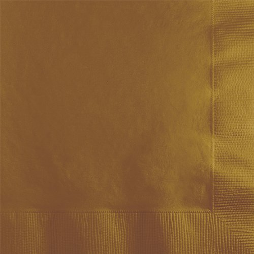 Creative Converting Touch of Color 2-Ply 50 Count Paper Beverage Napkins, Glittering Gold
