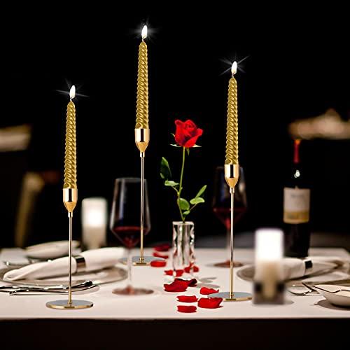 3 Piezas Elegante Portavelas con 3 Velas, Portavelas de Minimalismo Moderno 23/ 28/ 33cm, Suplemento Decór Romántica para Bodas, Aniversarios, Cumpleaños, Navidad, San Valentín, Conmemoración (dorado)