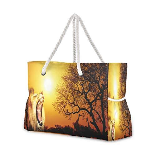 Hunihuni Strandtasche Tierwelt Löwe, Schultertasche Reisetasche mit Baumwollseil-Griffen, Reißverschluss oben, zwei Außentaschen