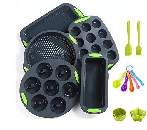 readleaf 18 Stück Silikon-Antihaft-Backform Silikon-Backgeschirr-Backset Antihaft-Backform, BPA-frei, Backformen und Tablettsets in Lebensmittelqualität Pizza Cupcake-Backblech-Set (Gruppe B)