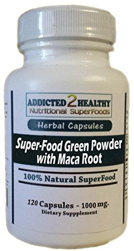 120 SuperFood Green Powder with Maca Root Capsules - Maca Root + Moringa + Spirulina + Kelp + Wheatgrass