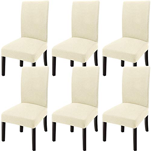 GoodtoU Chair Covers for Dining Room Chair Covers Dining Chair Slipovers (Set of 6, Cream)