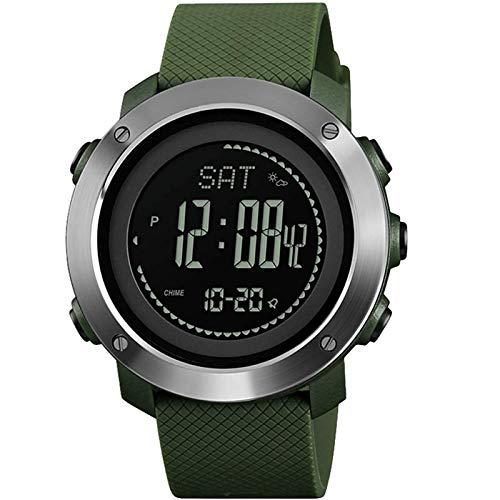 LDL - Watch for Herren Altimeter Barometer Kompass Thermometer Wetter Sport wasserdichte Männer Jungen Uhren Stoppuhr Pedometer for Gehen Wecker Armbanduhr (Color : Green)