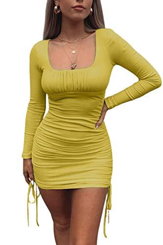 Haloon Mini vestido ajustado de manga larga con cuello cuadrado acanalado para mujer - Amarillo - X-Large